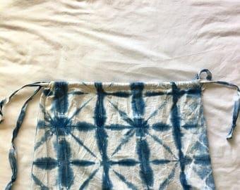Large Indigo Dyed Drawstring Bag