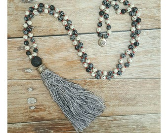 Obsidian Mala Necklace - Jasper Mala Necklace - Root Chakra Necklace - Yoga Necklace - Mala Rosary - Gift for Her - Gift For Yogi