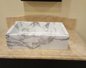 Vessel Stone Sink Calacatta Marble