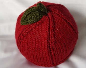 Handmade Knit Baby Apple Hat with Leaf Detail/Knit Baby Apple Beanie/Knit Baby Apple Toque/Red and Green Knit Baby Hat