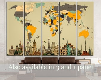 World Map with Landmarks Canvas Print World Map Wall Art World Map Wall Decor World Map Canvas Art World Map Panel Art World Map Art