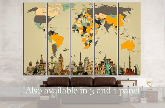 World Map With Landmarks Canvas Print World Map Wall Art World