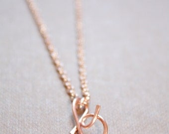 Letter B Necklace Silver Gold Rose Gold Initial Necklace Cursive Letter Necklace, Lowercase Initial Necklace, Personalized Necklace, Di & De