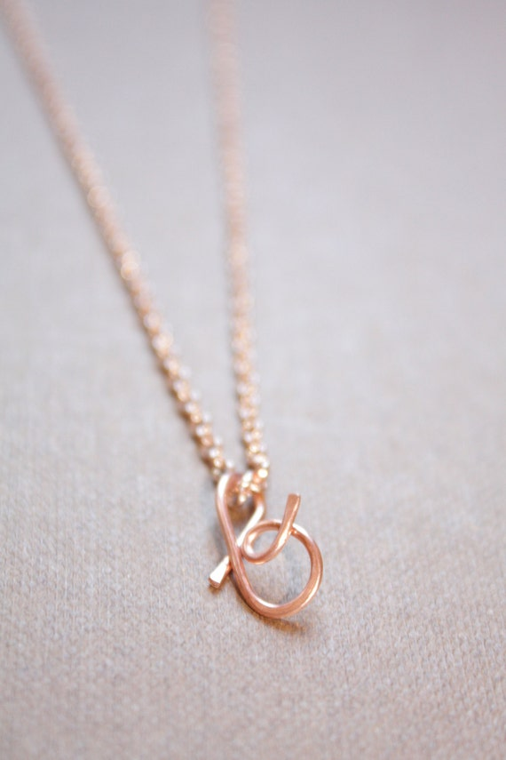 letter b necklace silver gold rose gold initial necklace cursive letter necklace lowercase initial necklace