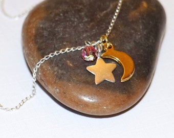 Sterling silver star charm necklace with moon and rose Swarovski crystal FREE UK P&P