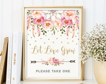 Let Love Grow Sign. Pink Gold Floral Boho Bridal Shower Printable. Bohemian Feathers Confetti Table Decor. Favors Please Take One. FLO12A