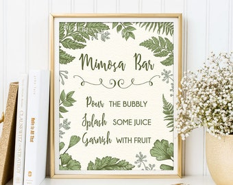 MIMOSA BAR Printable Sign. Greenery Botanical Bridal Shower Sign. Rustic Green Leaves Fern Wedding Shower Decoration. Shower Decor. BOT1