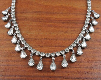 1920's ANTIQUE Sterling & Rhinestone Necklace - Wedding