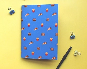 Junk food pattern A5 notebook with plain pages. Pizza, burgers and fries. Cute stationary. Gifts for stationary lovers. Perfect for doodling