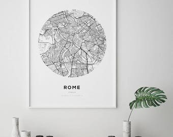 Rome Map Print, Rome City, Mappa Roma Italia, Rome Italy Map, Rome, Black and White Map, Italy Map, Italia, Roma, City Map Print, Map Art