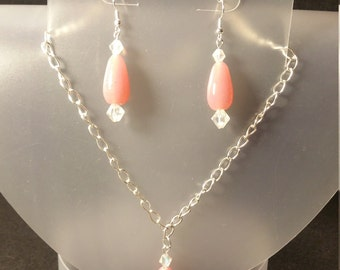 Pink teardrop necklace/earring set