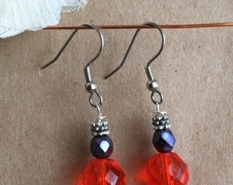 Colorful faceted glass ball earrings