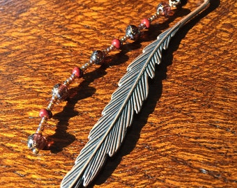 "Metal Feather Bookmark - Brown Antique Copper - 4.75"" long - Great Gift! - Free Shipping!"