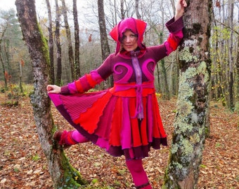 Short winter coat double sharp patchwork of recycled wool Hoodie Pink and red plum.