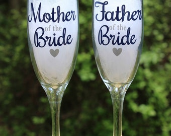 Mother and Father of the Bride, Mother and Father of the Groom, Champagne Glass, Wedding Glass