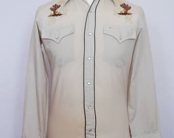 Vintage Western embroidered pearl snap shirt - Cowboy shirt - Vintage mens shirt - western shirt - Mens medium shirt - Button up shirt