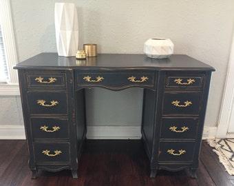 Vintage Grey & Brass Desk - Restored Antique