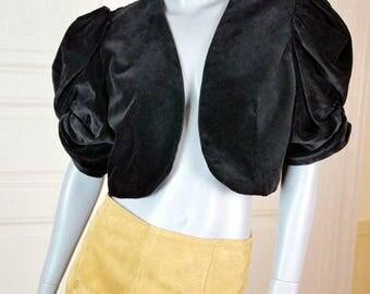 Spanish Vintage Black Velvet Bolero, V Neckline, Musketeer Short Sleeves, Short Velvet Jacket Women's, Black Blazer: Size 12 US, 16 UK