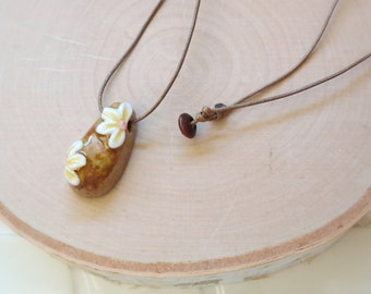 Ceramic Flower Pendant Necklace Waxed Linen Cord Necklace For Women/ Girls Jewelry
