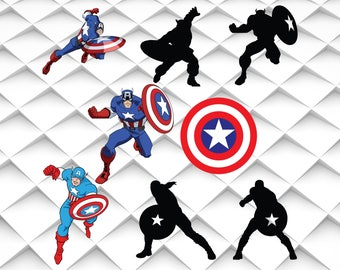 Captain america svg,jpg,eps,png for Design/Print/ Silhouette Cameo/Cricut& Many More