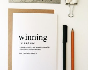 Winning Card - Congratulations Card - Congrats Card - Graduation Card - Greeting Card - Humorous Greeting Card