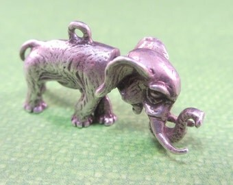 Vintage Elephant Charm Sterling Silver Moveable
