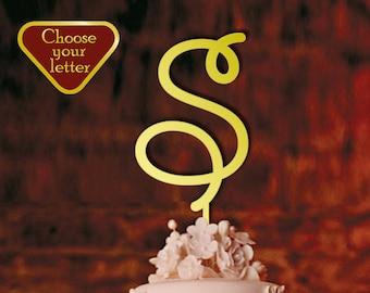 Letter S - Cake Topper, Single Letter Cake Topper, Cake Topper Letter, Initial Cake Topper, Letter Cake Topper, Monogram Cake Topper, CT#036