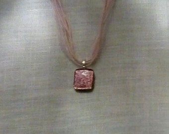 Spectacular sparkling hot pink dichroic glass pendant