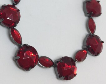 Vintage Ruby Red Jewel Necklace 21 inch adjustable oxidized chain Costume Valentine