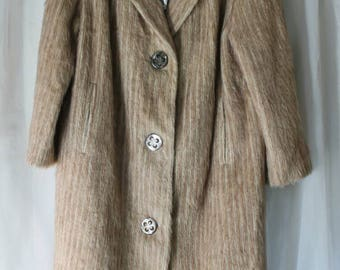Free Shipping Australia Classic mohair coat 60s vintage & Bonus retro scarf. American Styled wool mohair blend.