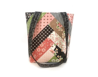 Quilted Tote Bag, Quilted Handbag, Quilted Purse - Pink and Black Floral