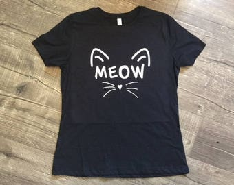 Meow Shirt Whiskers Tshirt Cat Tee Crazy Cat Lady Lovers Pet Shirt Cat T-shirt Womens Tee Unisex Adult Cat Toy Tiger Kitty Kitten Cat Ears