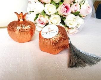 wedding favor for guests, rose gold pomegranate box, wedding favor boxes, engagement party favors, unique wedding favors, favour tassel