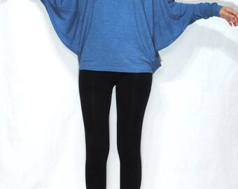 Blue Long Sleeve Batwing Shirt - Blue Jersey Tee Oversized Top - Dolman Long Sleeve Shirt - CC TOP022
