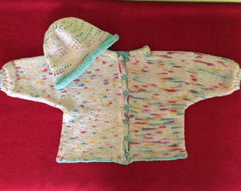 baby cardigan with baby hat - hand knit - cotton
