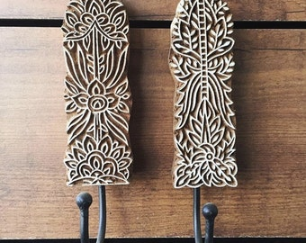 Wall pegs made from wooden blocks/stamp