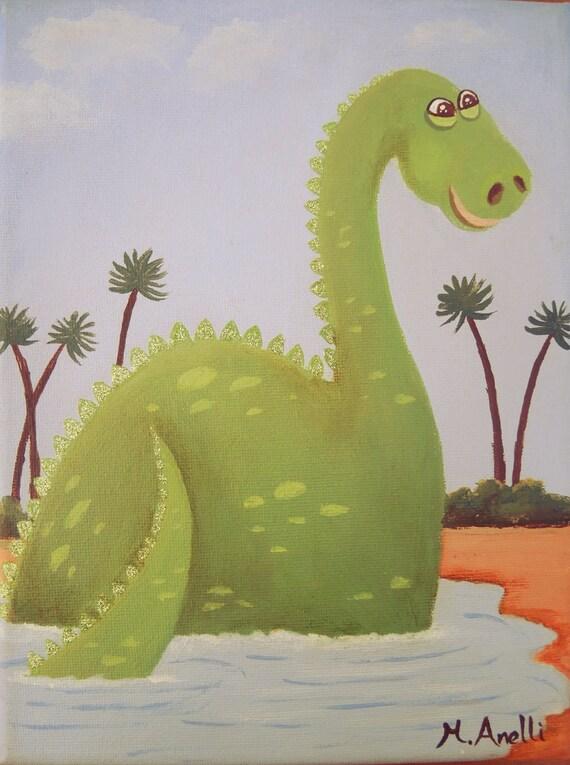 Dinosaur art dinosaur painting jurassic art gift for a boy