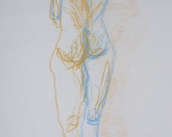 Original nude drawing, body drawing, female nude, signed with left and right hand, A2, blue/orange