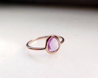 Pink Sapphire Ring, 14K Rose Gold Sapphire Ring, Rose Cut Sapphire ring, Minimal Sapphire ring, Delicate Sapphire ring, Dainty Gemstone Ring