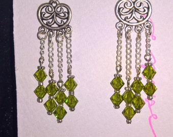 Green Swarovski crystal waterfall earrings
