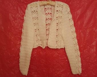 Bolero, sweater,  jacket, white