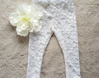 Baby girl lace leggings/ baby footless tights/0- 12 month girl leggings