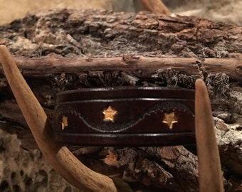 "Genuine Leather Cuff Leather Bracelet Leather Wristband Rustic Leather Brown 7.75"" Handmade Men's Leather Women's Leather One-of-a-Kind USA"
