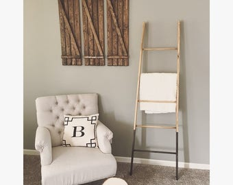 Rustic Bloak Tappered 5 Rung Blanket Ladder, Towel Ladder, Decorative Ladder