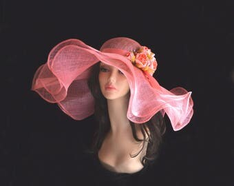 English rose summer hat / evening hat / hat / hat for races /pink rose sinamay fascinator