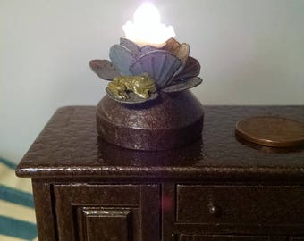 """1:12 Steampunk Lamp. """"The Flower and the Frog"""" 12v working miniature lamp."""
