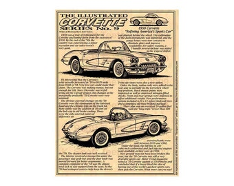 1959 C1 Corvette Art Print,Man Cave Decor,Scott Teeters,Nostalgic Corvette,1959 Corvette Print,Americas Sports Car,1959 Production Corvette