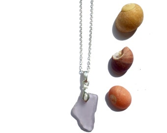 Lilac Seaglass Necklace - St Ives - Sterling Silver