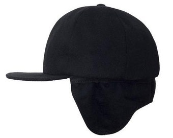 Filipacchi Cashmere Baseball Cap with Ear Flaps - Black