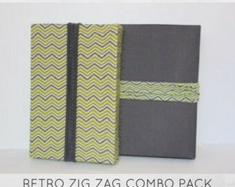 "New from ""Regift The Wrap""...Reusable Stretch Fabric Gift Wrap-RETRO ZIG ZAG Combo Pack"